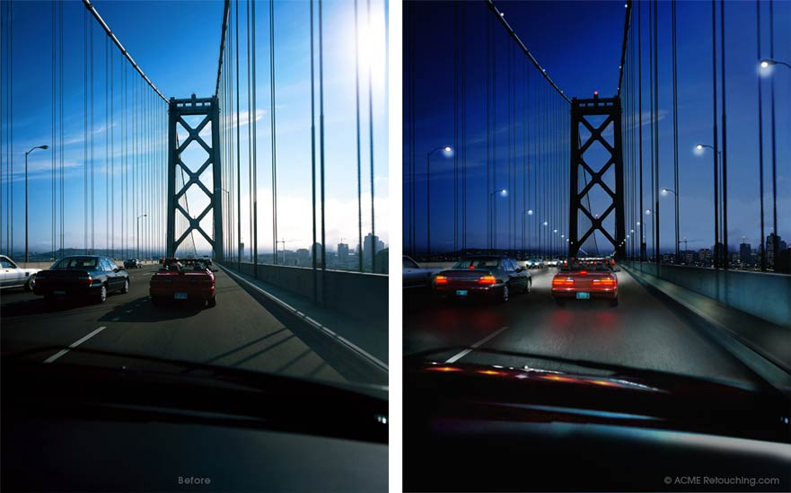 Retouched photo of Oakland Bay Bridge, day-for-night effect.