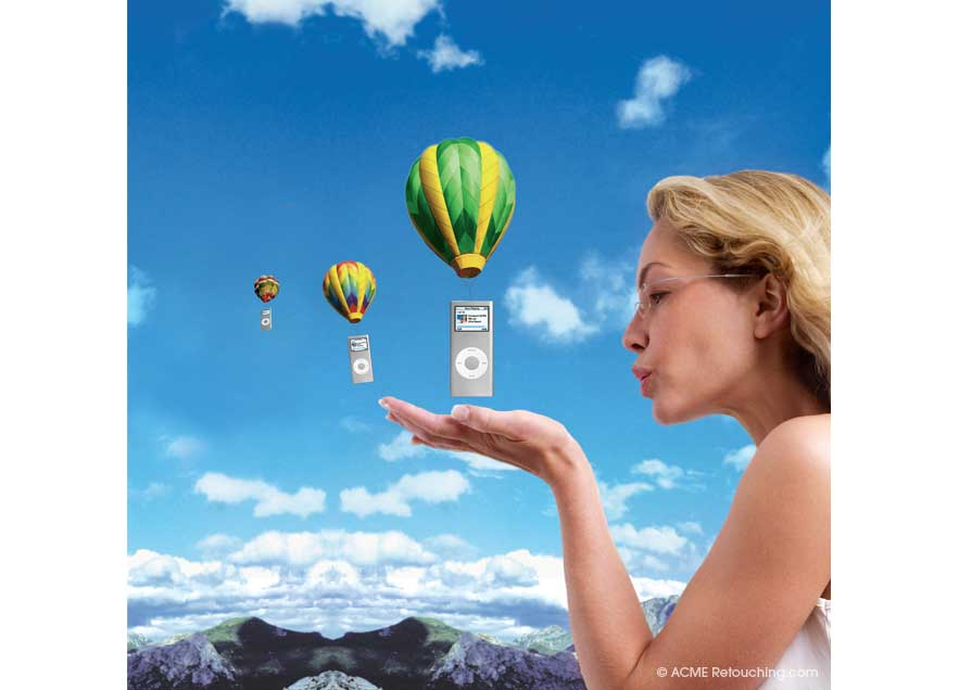 Photo retouching of model launching miniature hot air baloons carrying iPods.