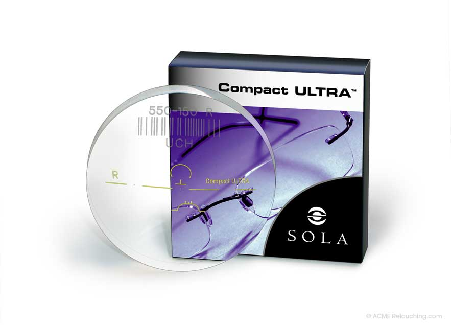 Photo retouching, complete re-render of Sola Compact Ultra lens and package digital snap utilizing label and lens markings mechanicals
